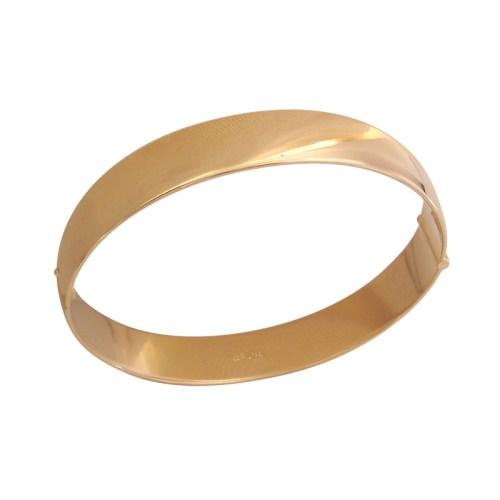 Bracelete largo e liso folheado em ouro amarelo 18k