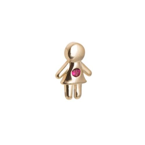 Pingente menina com pedra rosa e dourado para usar dentro da Cápsula