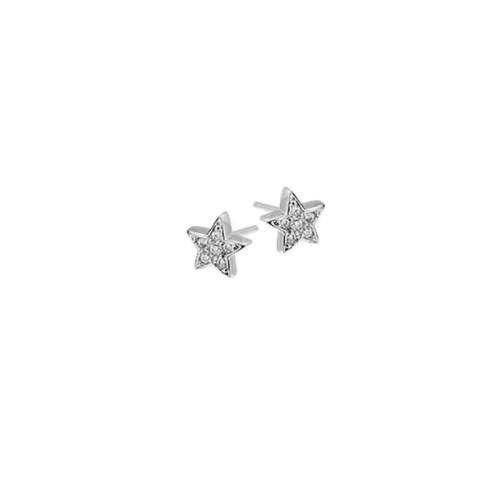 Brinco estrela pequena com zircônia 2º furo folheado ródio