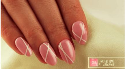 Metal line sticker white on nail