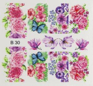 3D Стикери за нокти, 3D Effect Sticker B30 , Цветя и пеперуди, Brillbird.bg
