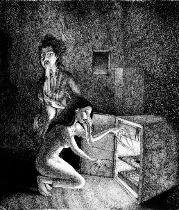 Schwarzes Loch Kühlschrank zerfliessende Frauen surrealistisch Schraffuren (921x1080) brillenschnitzel