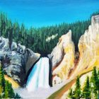 Canyon Lower Falls Painting
