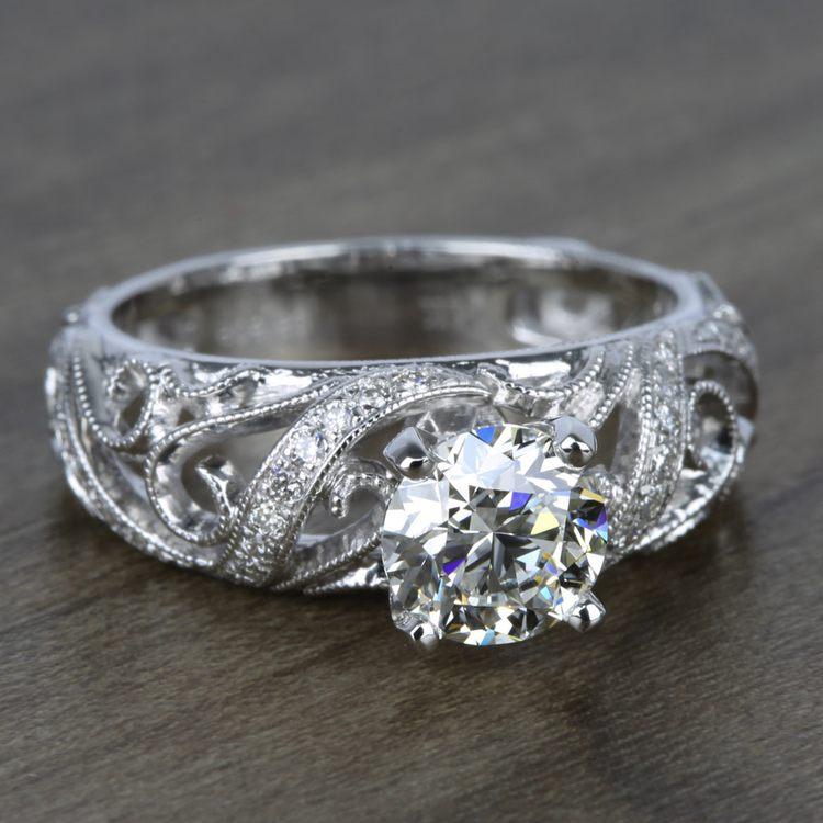 Climbing Milgrain Diamond Engagement Ring In White Gold By