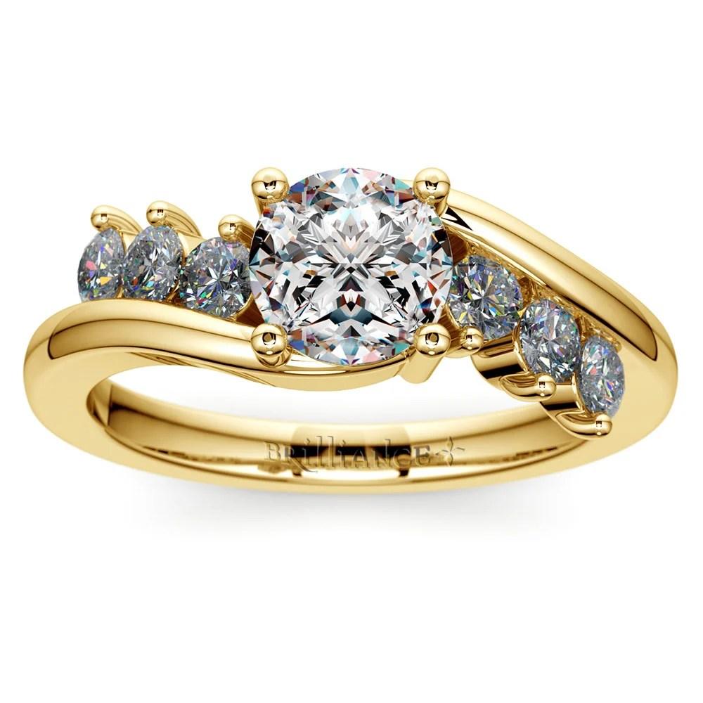 Swirl Style Diamond Engagement Ring In Yellow Gold