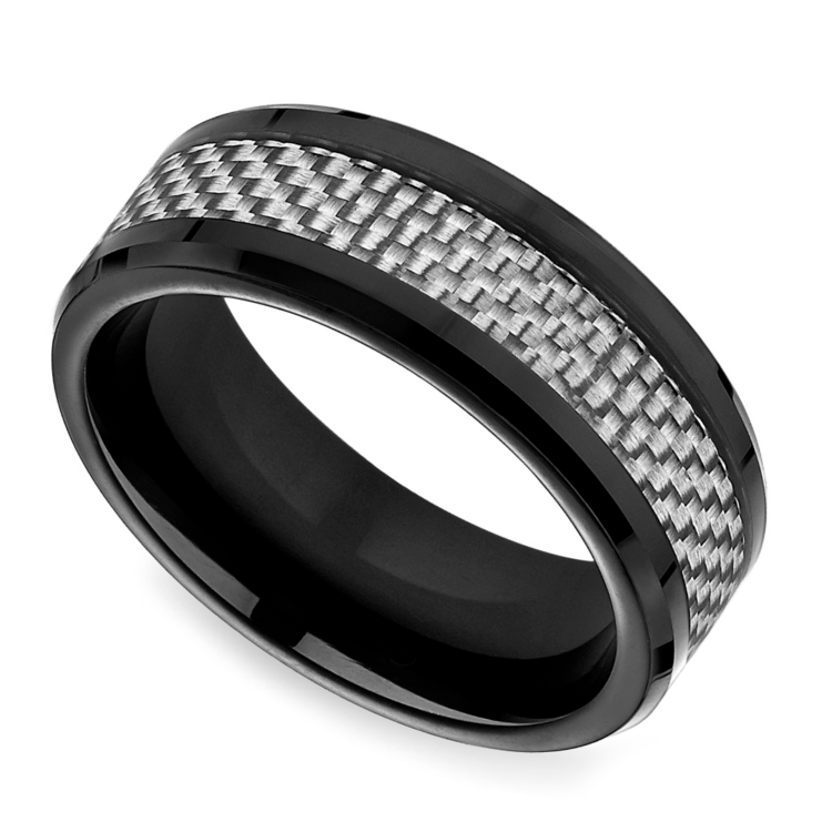 White Carbon Fiber Men's Wedding Ring In Cobalt
