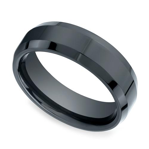 Beveled Men's Wedding Ring In Ceramic