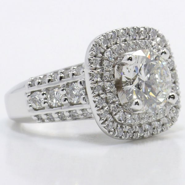 Statement Diamond Engagement Ring With Double Halo