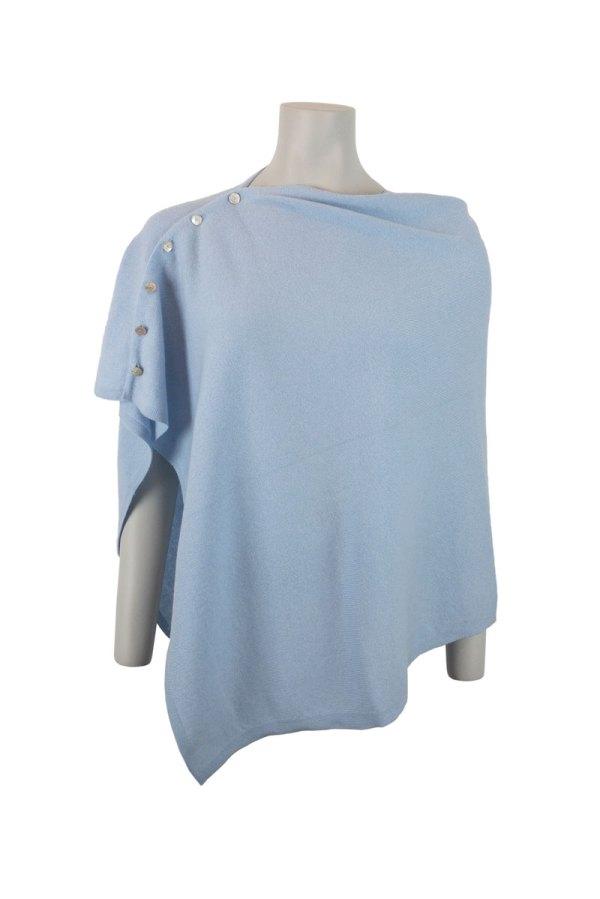 Ljusblå - Babyblå poncho i 100% mjuk och skön kashmir