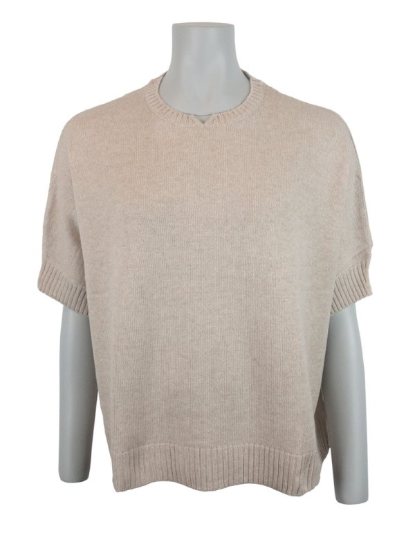 Vete-/naturfärgad tröja i 100% kashmir Chunky Boxy Sweater