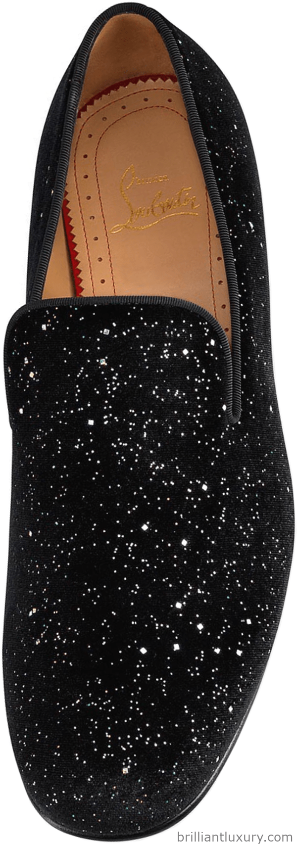 Christian Louboutin Rollerboy Galactica loafers in velvet leather covered with strass