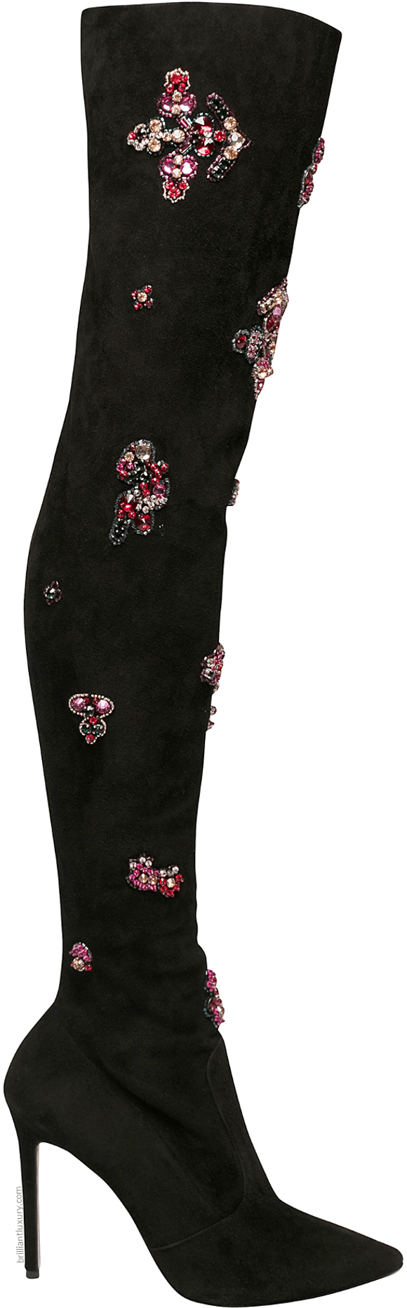 Zuhair Murad pink embroidered over the knee boots
