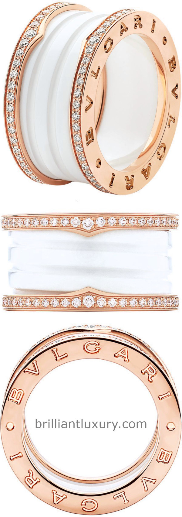 Bvlgari B.Zero1 four-band ring with two 18kt gold loops set with pavé diamonds on the edges and a white ceramic spiral