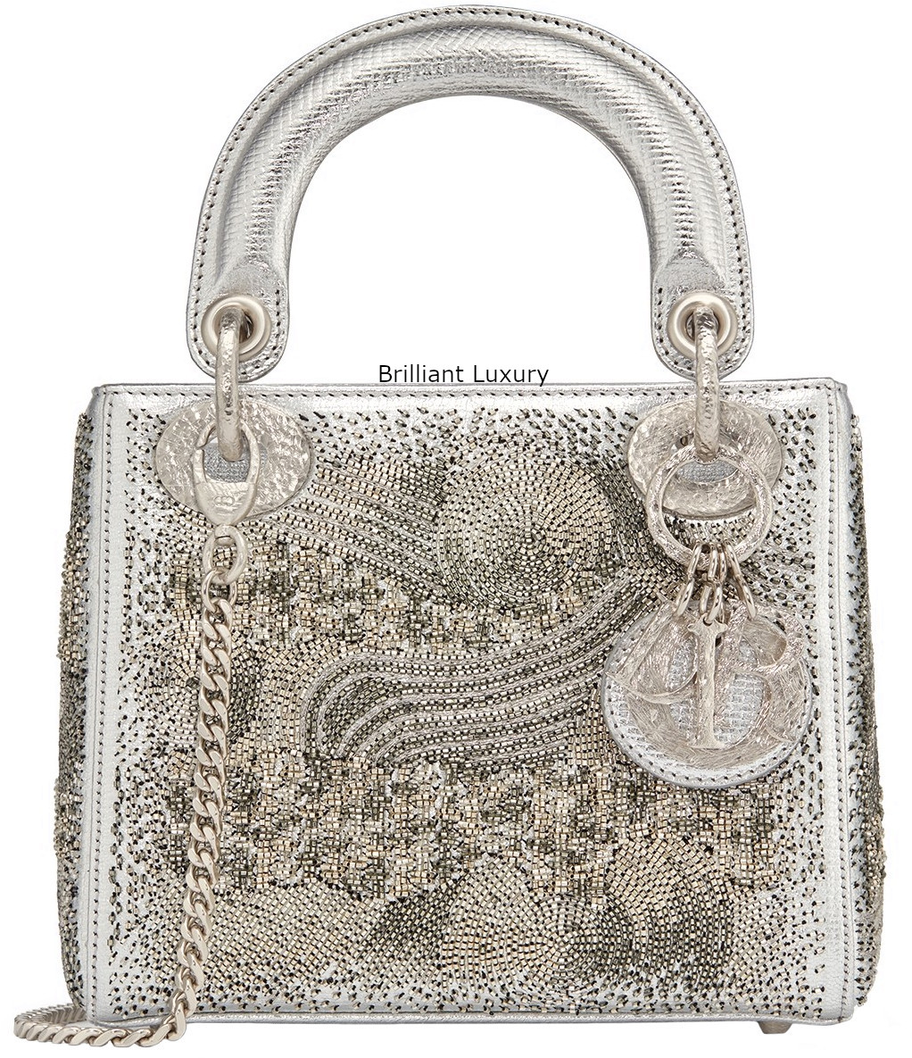 Lady Dior Art Bag in silver color textured goatskin embroidered with metallized tubes-hand-hammered silver tone metal charms Designer Olga de Amaral