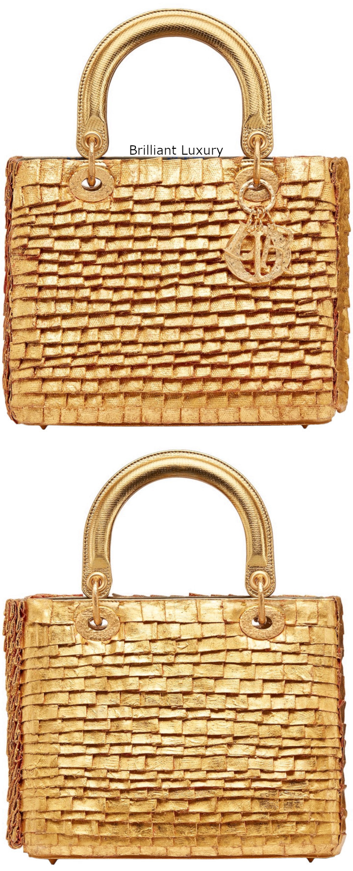 Dior Bag embroidered cotton pieces covered with 24kt gold-hand-hammered and metal charms Designer Olga de Amaral