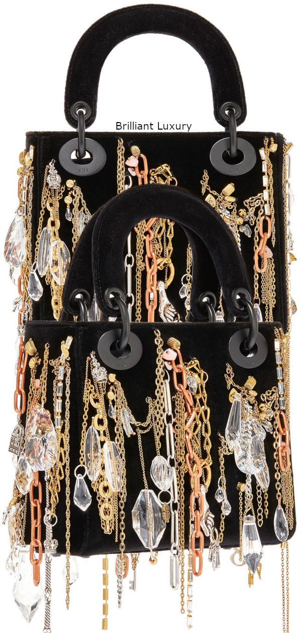 Dior Bag in black velvet embroidered with chains-jewellery in ultra black finish metal Designer Isabelle Cornaro