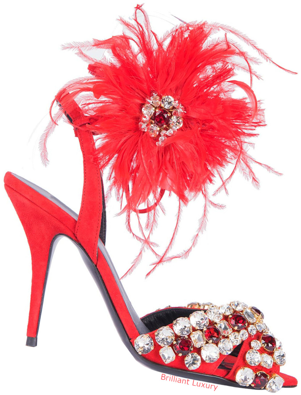 Gedebe feathered sandals in red