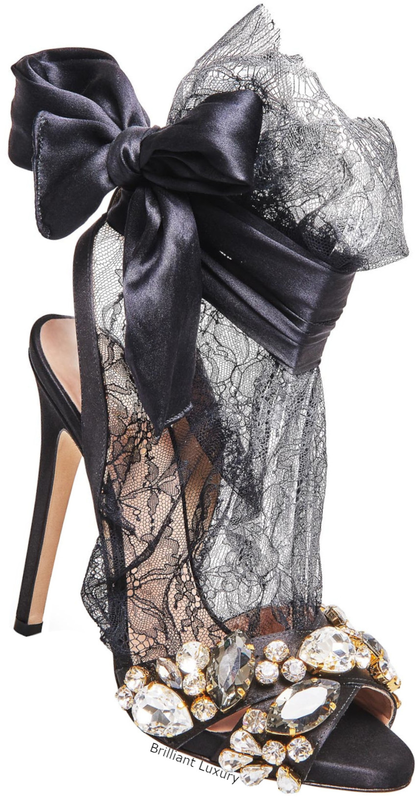 Gedebe satin lace sandals in black