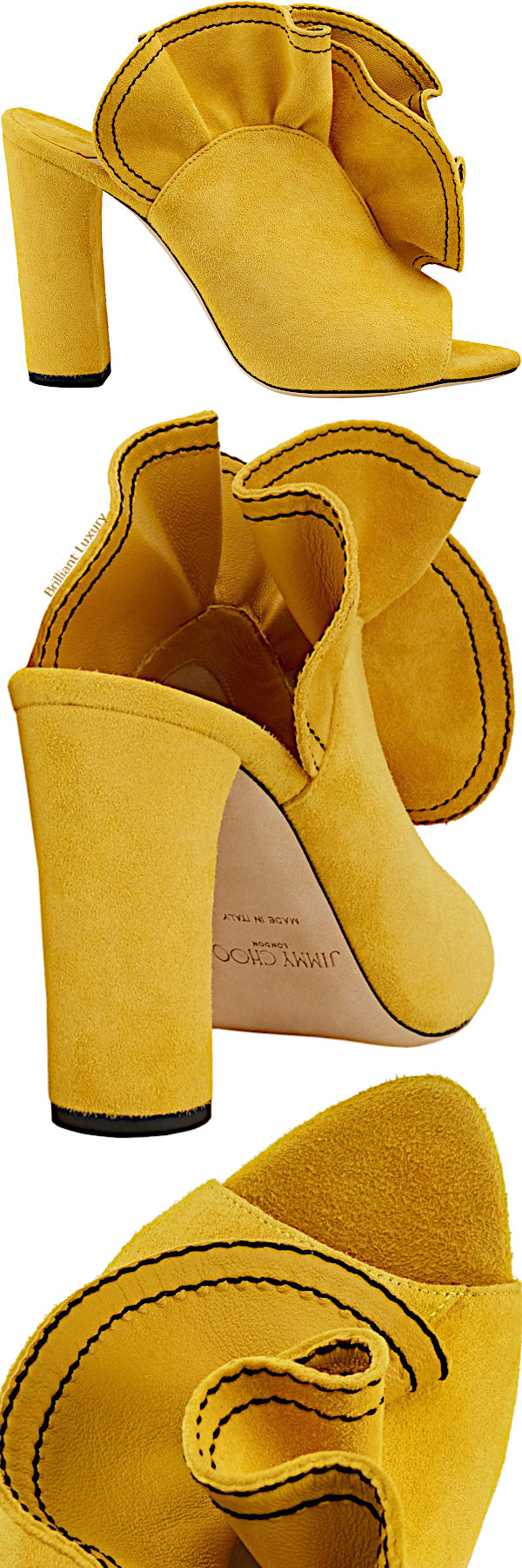 Jimmy Choo Haile suede open toe mules in yellow
