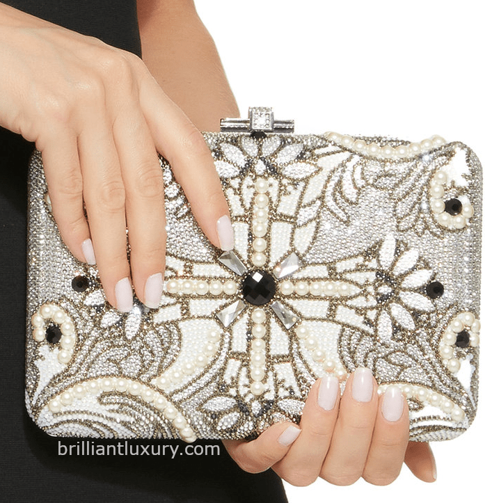 Judith Leiber crystal-embellished pearl clutch