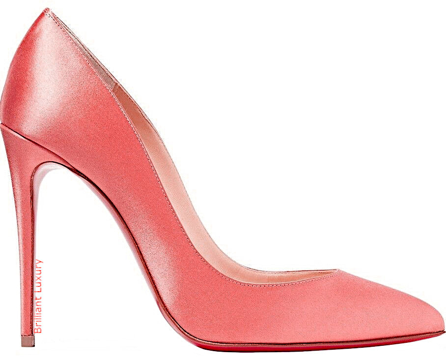 Christian Louboutin Pigalle Follies Charlotte satin pumps in Pantone Color Living Coral