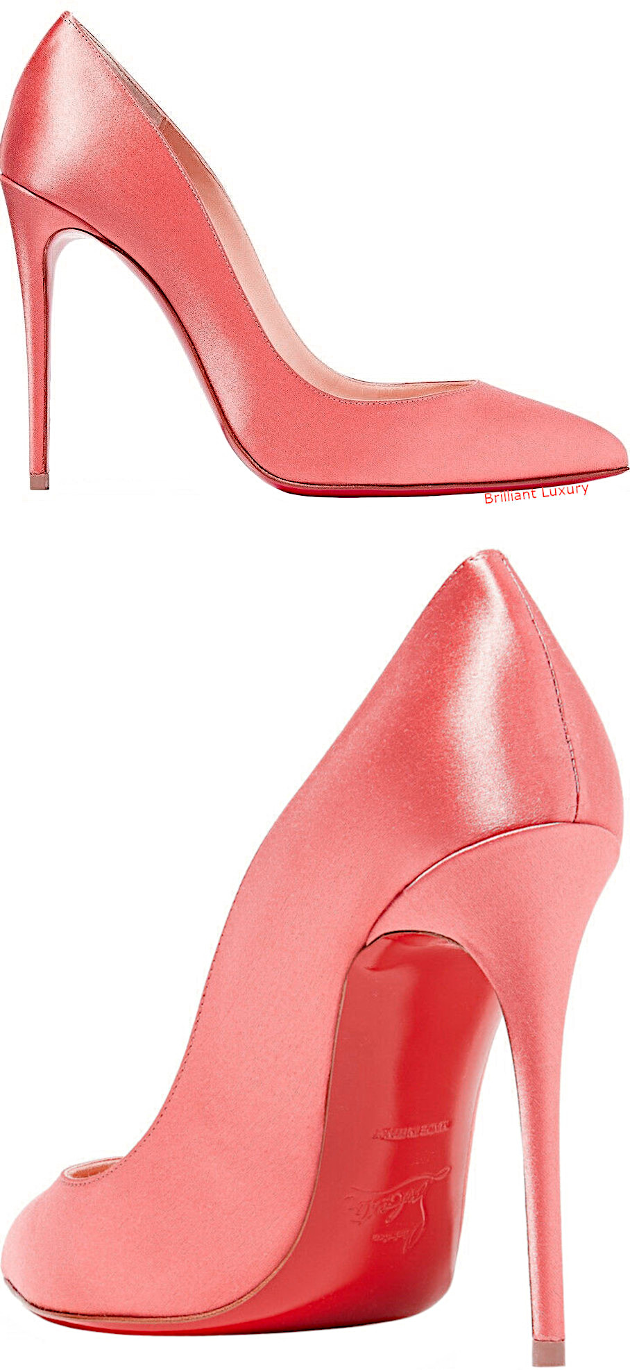 Christian Louboutin Pigalle Follies 100 Charlotte coral satin pumps