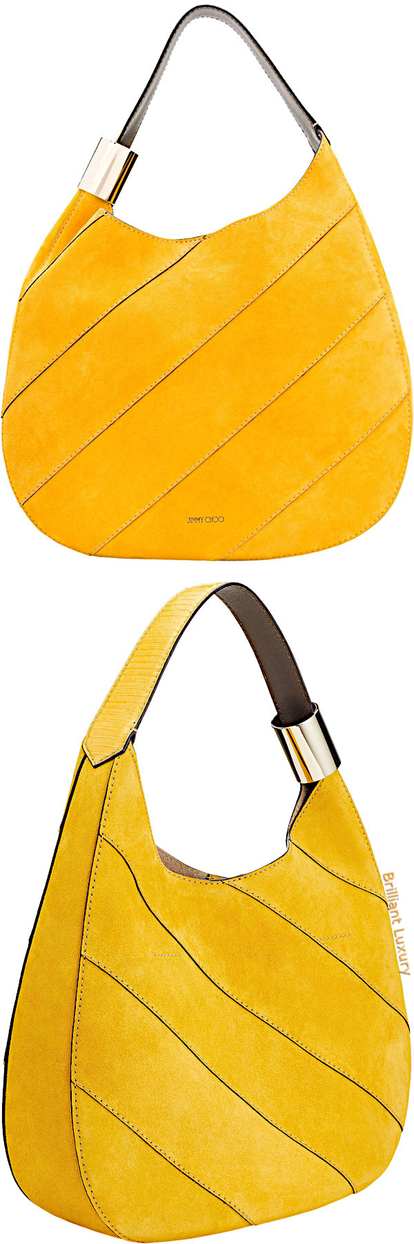 Jimmy Choo Stevie saffron suede shoulder bag with stitching and elaphe in yellow