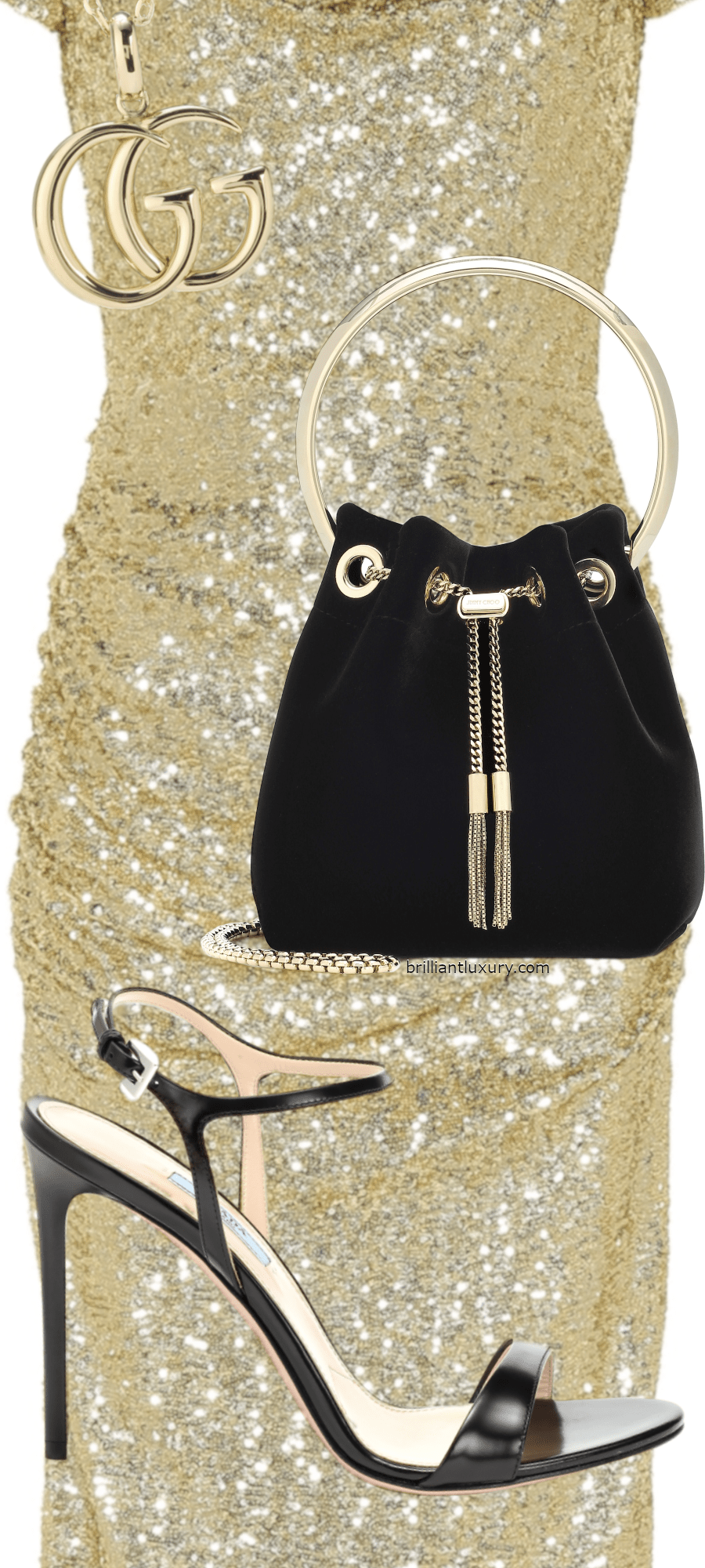 Brilliant Luxury Black & Gold Party Outfits #dolce&gabbana #prada #gucci #jimmychoo #accessories #shoes #bags #jewelry #fashion