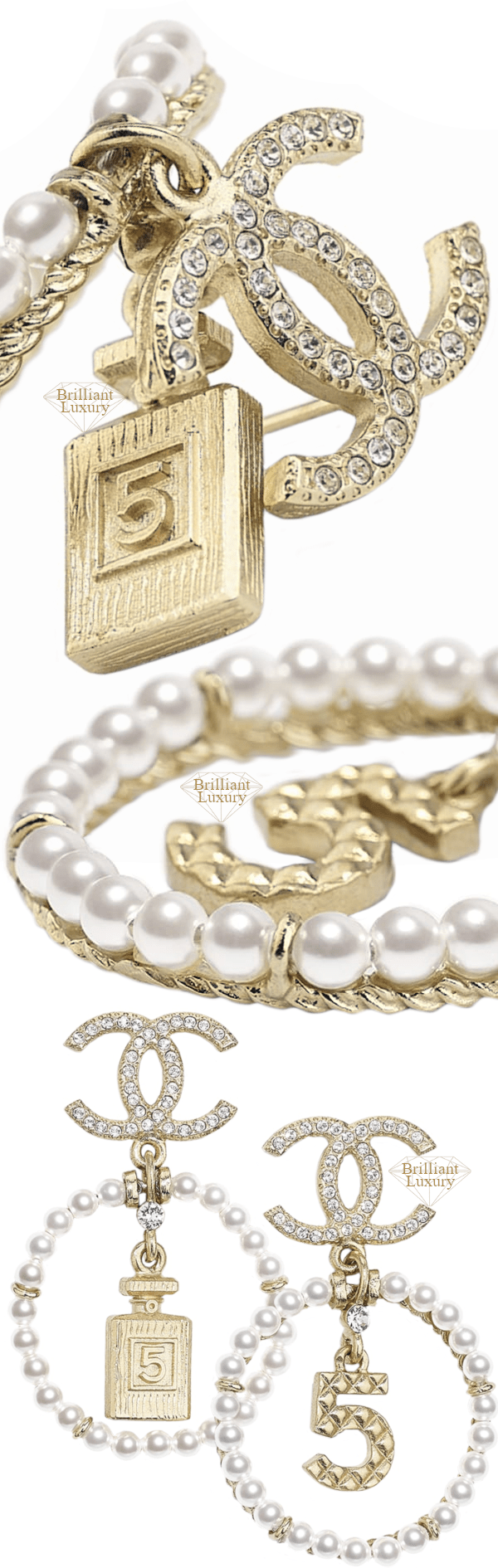 CHANEL Metal and Glass Pearl Earrings #jewelry