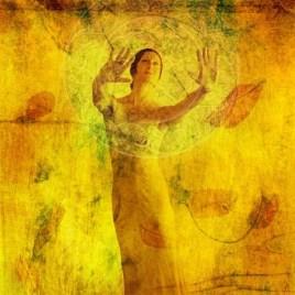5161191 - woman in visualization metaphor. photo based mixed medium illustration.