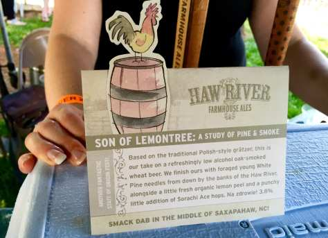 Haw River Brewing brought its super Polish-style gratzer, Son of Lemontree, to the event. It includes pine needles, lemon peel, and smoked malt.