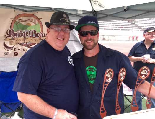 "Volunteer David ""Yogi"" Dean joins Bridge Brew's Adam Herrold to tell folks about local beer."