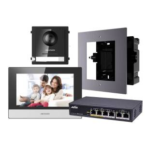 Hikvision 2nd Gen IP Intercom Kit, 1 to 1 Villa, Door & Room Station, Flush, Aetek Switch