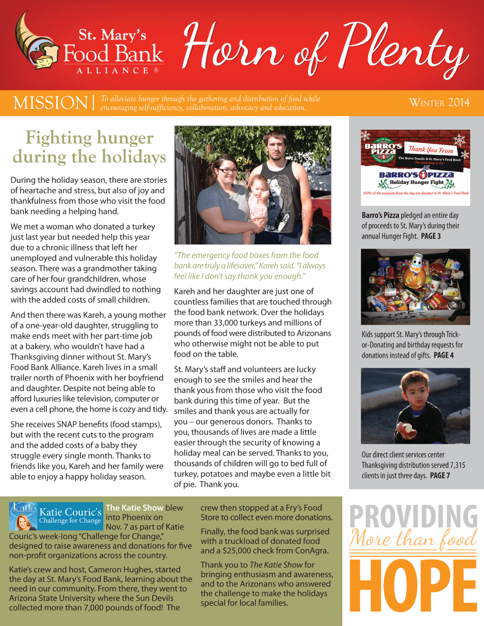Horn of Plenty Newsletter Winter 2014