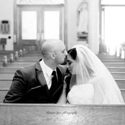 Lopez Moryl Wedding - pew kiss bw