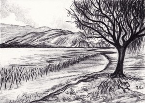 landscape sketches sketch charcoal simple drawings drawing lake artist pencil landscapes scenery beach google tree background lines quick easy sketching
