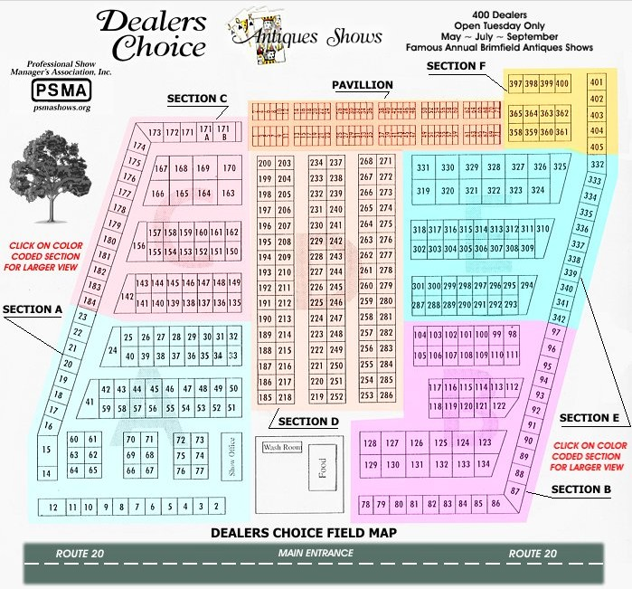 Dealers Choice Antiques Show - Field Map