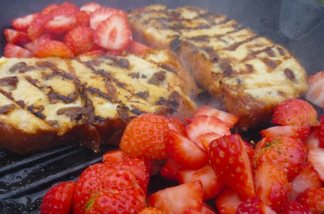 charred eggy bread and strawberrries