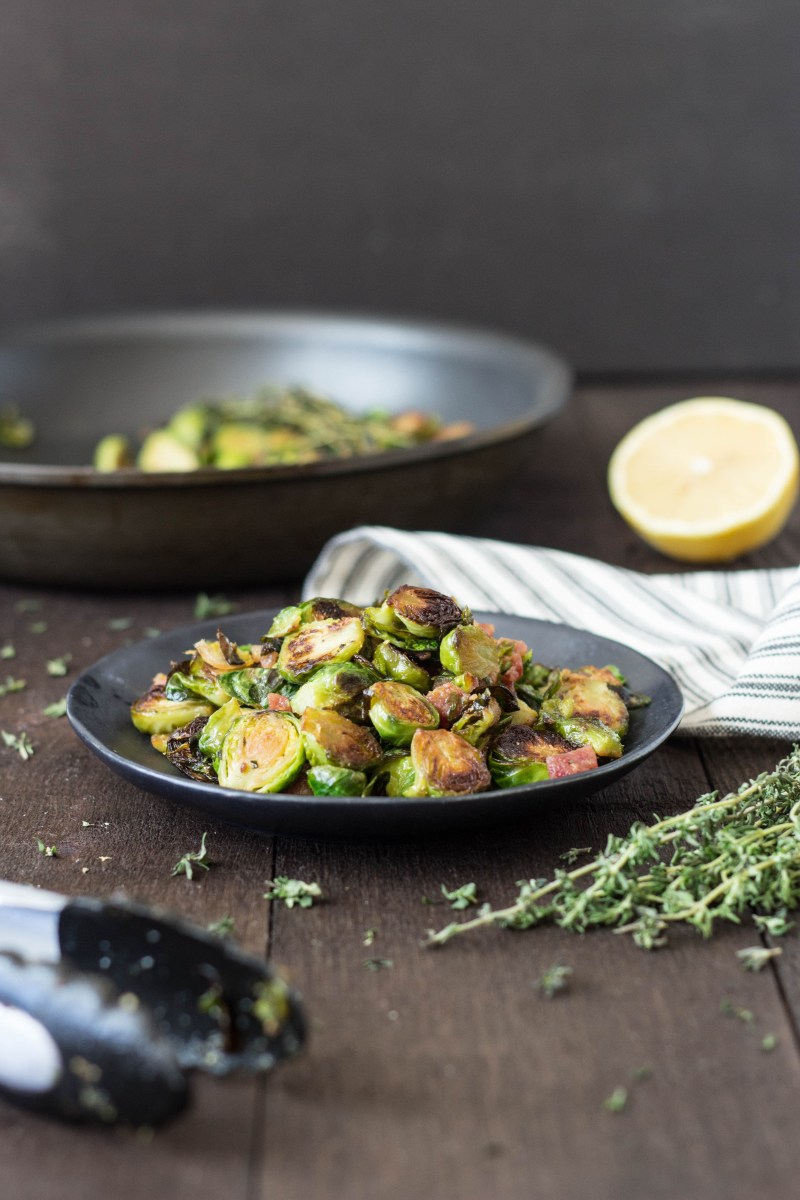 Pan Seared Brussels Sprouts with Pancetta