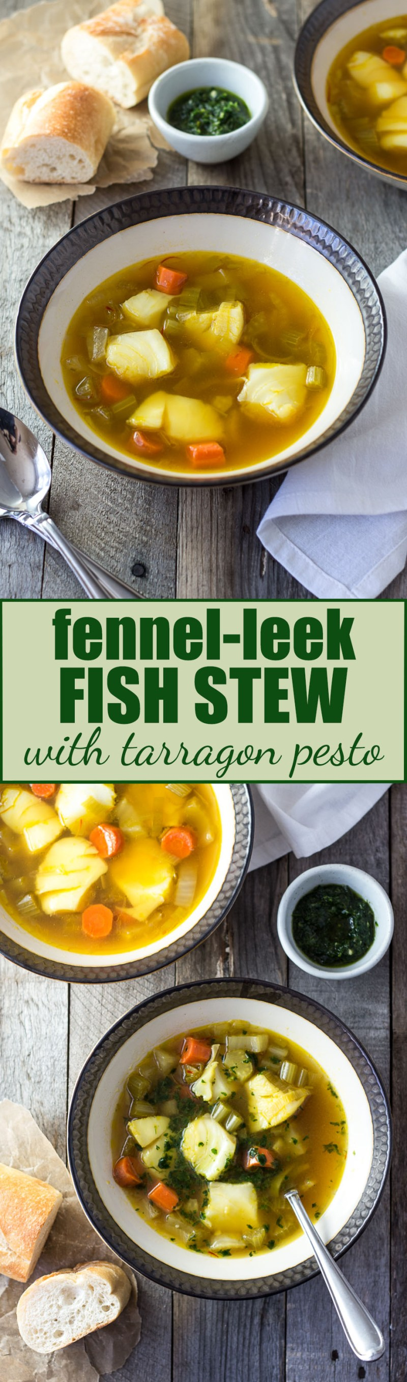 Fennel-Leek Fish Stew with Tarragon Pesto