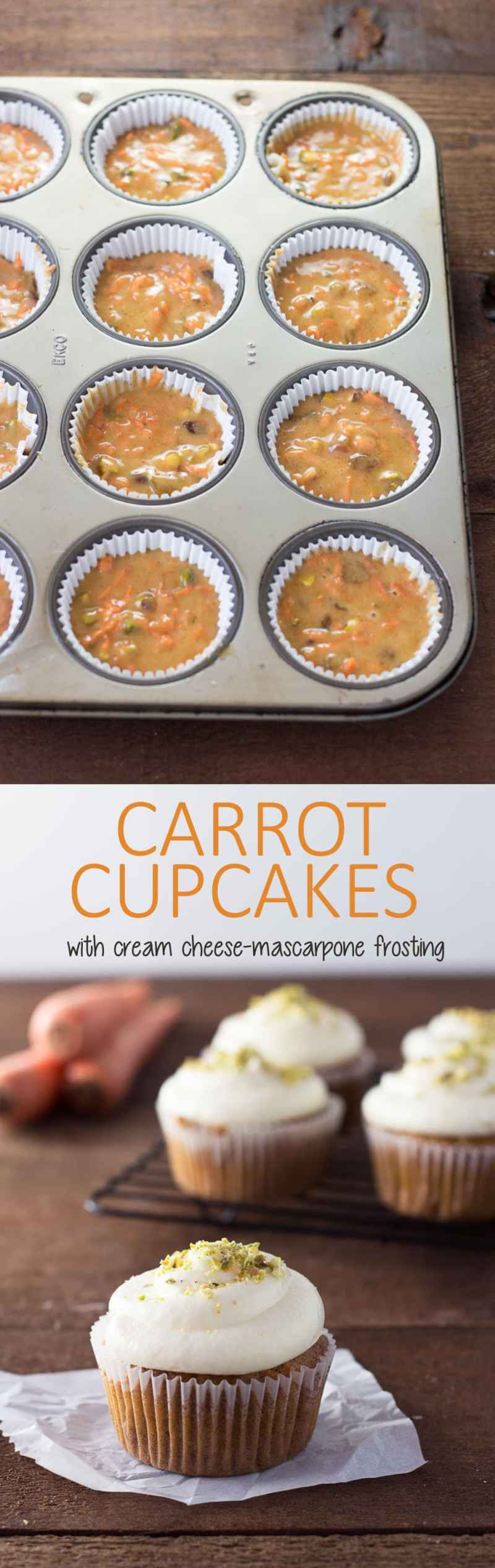 Carrot Cupcakes with Cream Cheese-Mascarpone Frosting