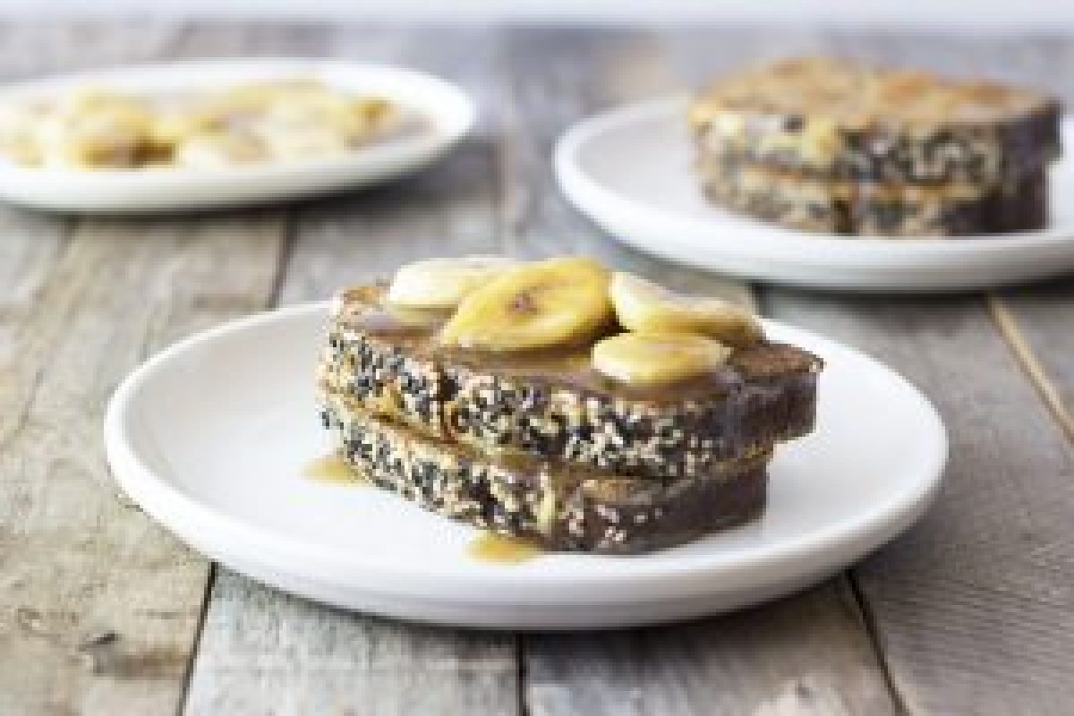 Sesame-Banana Bread French Toast with Bananas Foster