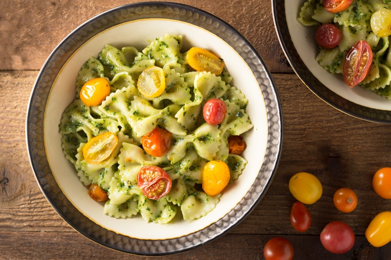 Pesto Pasta with Roasted Heirloom Tomatoes