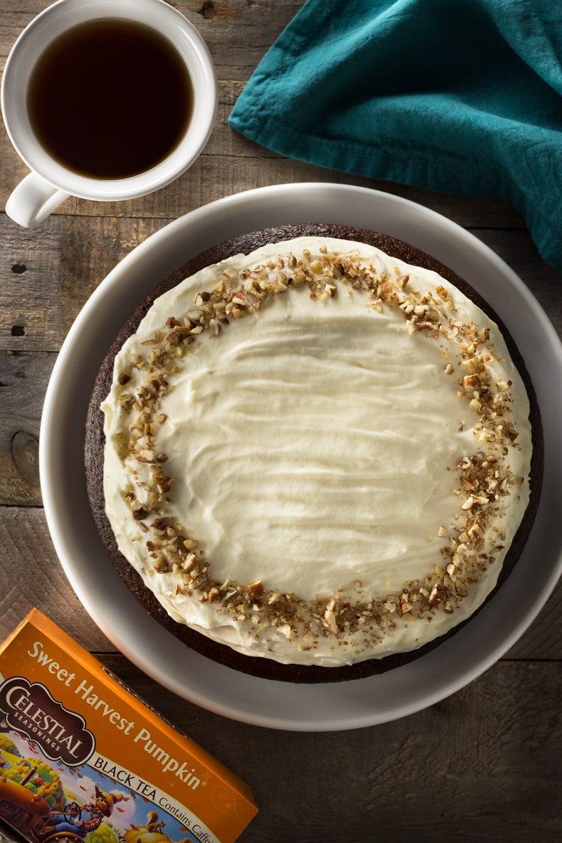 Pumpkin-Ginger Black Tea Cake with Cream Cheese Frosting