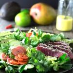 Sesame Crusted Tuna Salad with Mango Dressing