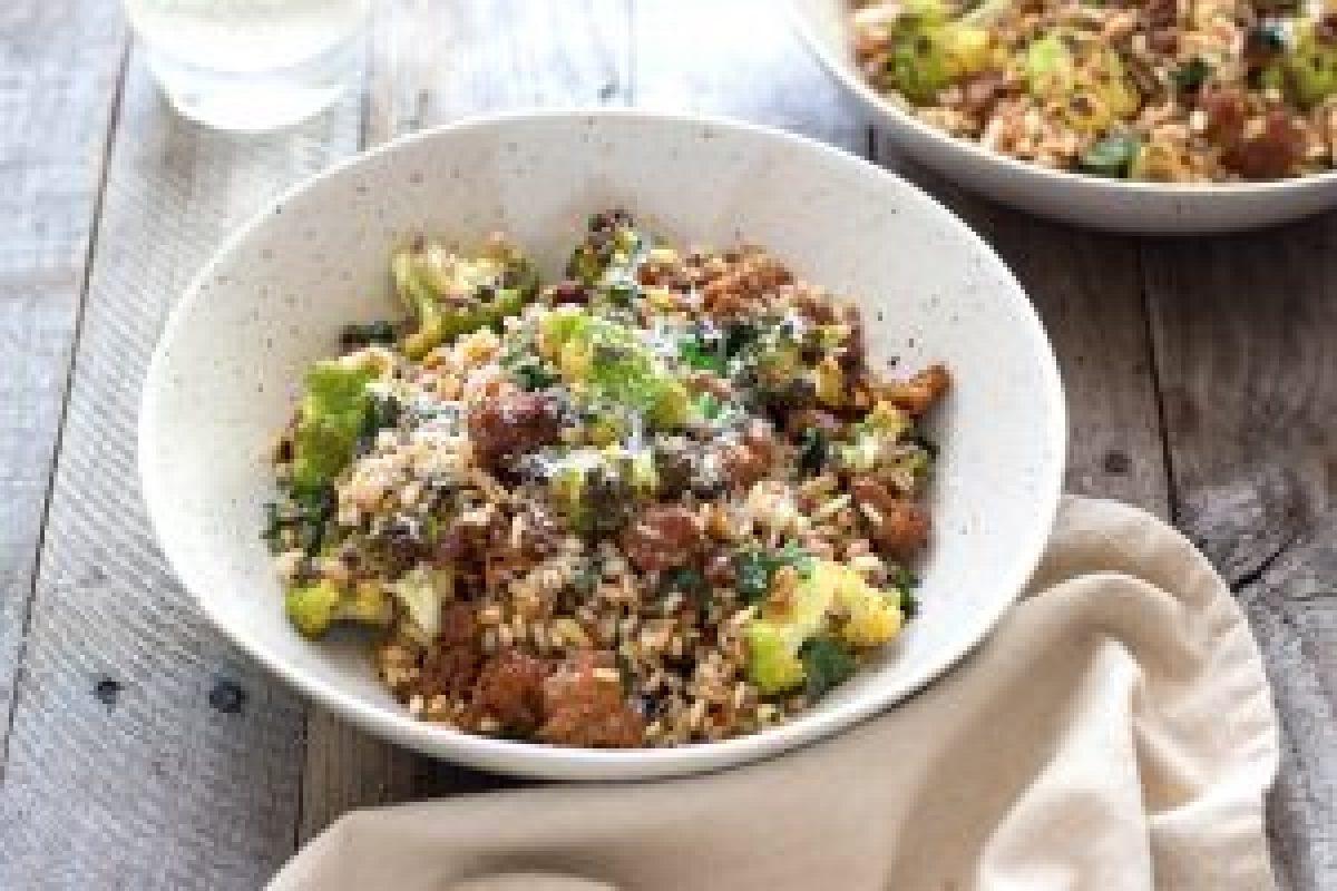 Warm Grain Salad with Sausage & Cauliflower