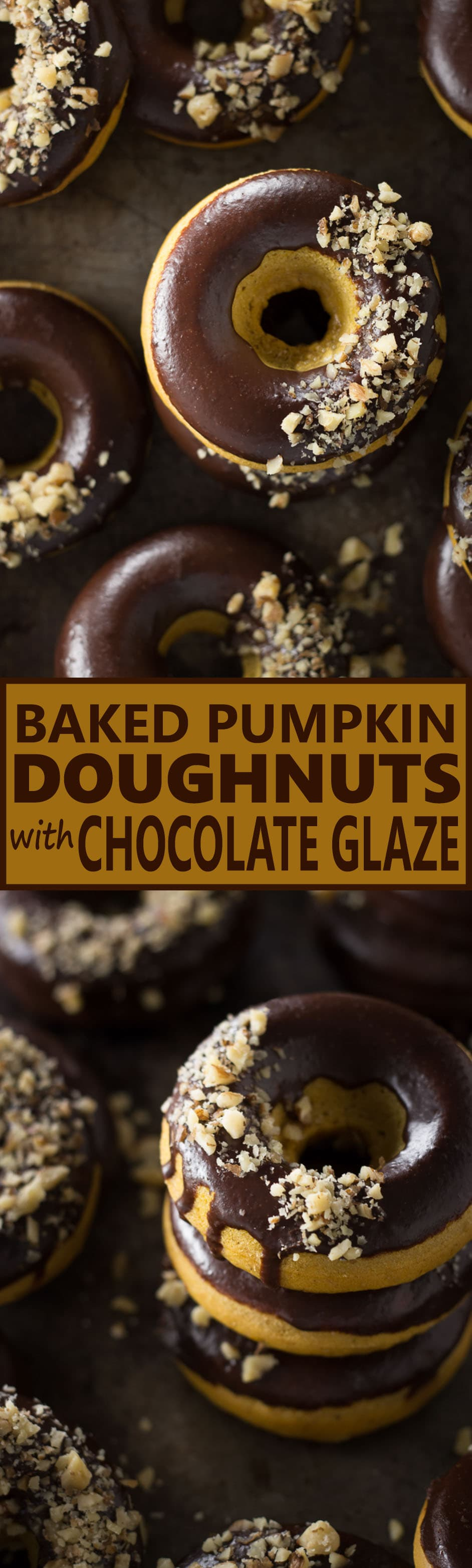 Baked Pumpkin Doughnuts with Chocolate Glaze