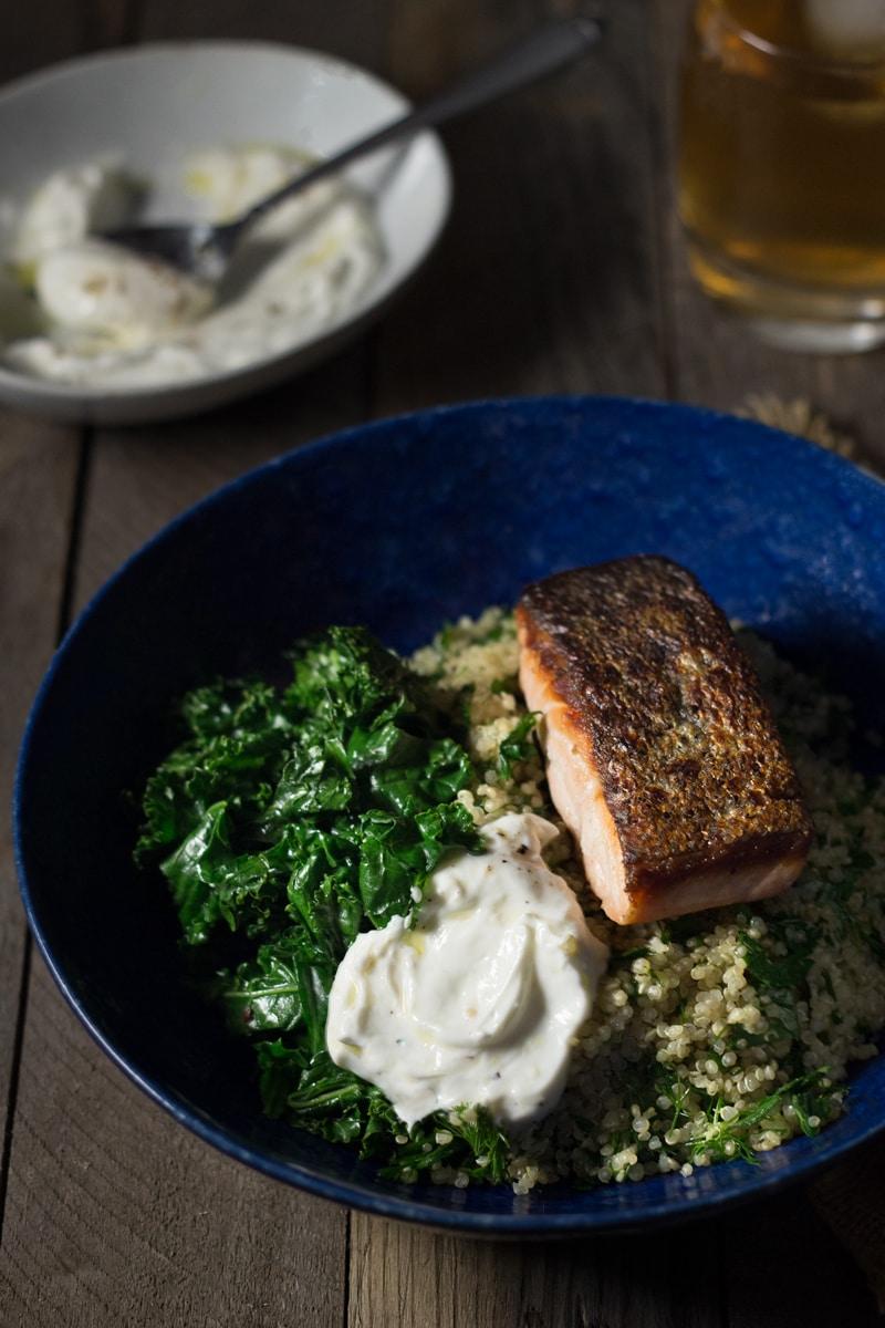 Salmon Quinoa Bowl with Kale & Yogurt Sauce