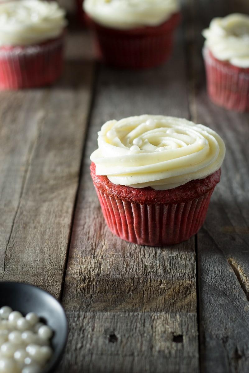 Red Velvet Cupcakes with Vanilla Cream Cheese Frosting | brinasbites.com @Brina's Bites