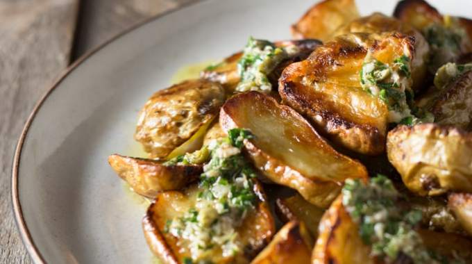 Roasted Sunchokes (Jerusalem Artichokes) with Salsa Verde